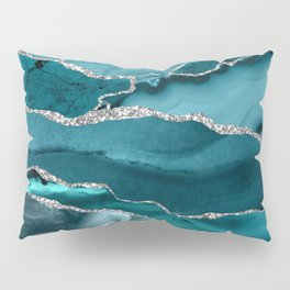 Glamour Turquoise Blue Bohemian Watercolor Marble With Silver Glitter Veins Pillow Sham