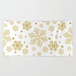 Golden snowflakes Beach Towel