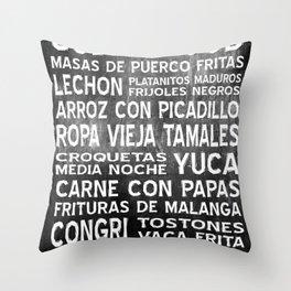 Cuban Food Word Food Art Poster (Black) Throw Pillow