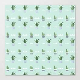 Modern teal green white triangles cactus floral pattern Canvas Print