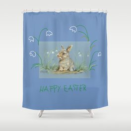 Spring Rabbit & Happy Easter quote Shower Curtain