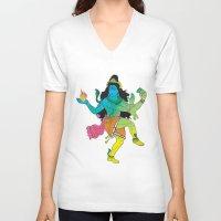 shiva V-neck T-shirts featuring Lord Shiva by xDiNKix