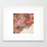 toronto Framed Art Prints featuring Toronto by MapMapMaps.Watercolors