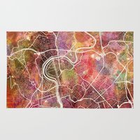 rome Area & Throw Rugs featuring Rome by MapMapMaps.Watercolors