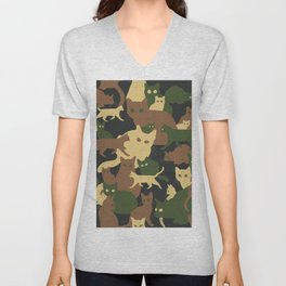 Find a cat (camouflage pattern) Unisex V-Neck