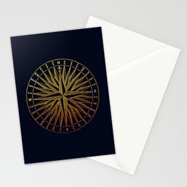 The golden compass- maritime print with gold ornament Stationery Cards
