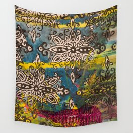 Scrambled Design in Teal, Yellow and Magenta Wall Tapestry