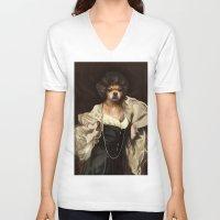 karu kara V-neck T-shirts featuring Ruffs and Collars - Kara by LiseRichardson