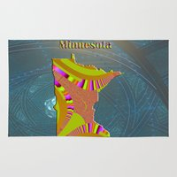 minnesota Area & Throw Rugs featuring Minnesota Map by Roger Wedegis