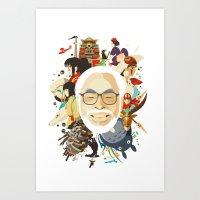 miyazaki Art Prints featuring Miyazaki-San by Danny Haas