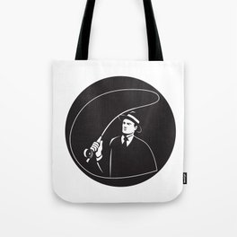 Mobster Suit Tie Casting Fly Rod Circle Retro Tote Bag