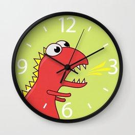 Cute Cartoon Dinosaur With Fire Breath Wall Clock