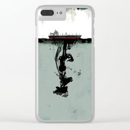 Ship boat oil spill sea Clear iPhone Case