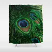 peacock Shower Curtains featuring Peacock by Olivia Joy StClaire