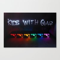 gorillaz Canvas Prints featuring Kids With Guns by John Andrews Design