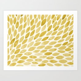 Watercolor brush strokes burst - yellow Art Print