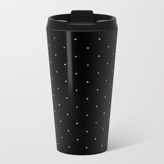 Happy Dots on Black Metal Travel Mug
