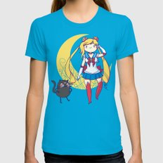 Adventure Moon Teal LARGE Womens Fitted Tee