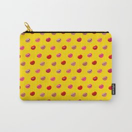 Red, pink and nude lips on yellow background pattern Carry-All Pouch