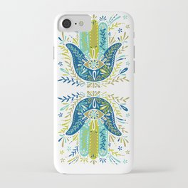 Hamsa Hand – Lime, Turquoise & Navy Palette iPhone Case