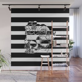 Gorgeous Skull With Flower Crown - Black and White Stripes Wall Mural
