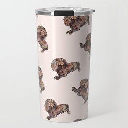 Dog Pattern 2 on Girly Pink Travel Mug