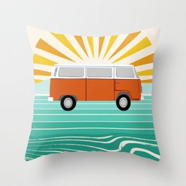 Peace, man - retro 70s hippie bus surfing socal california minimal 1970's style vibes Throw Pillow