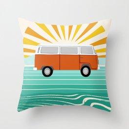 Peace, man - retro 70s hippie bus surfing socal california minimal 1970's style vibes Throw Pillow