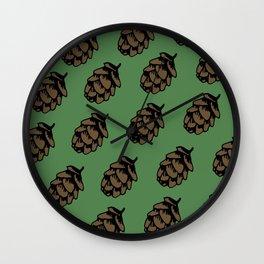Green Pinecone Pattern Wall Clock