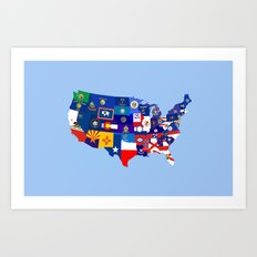 usa states flag map Art Print