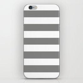 Battleship grey - solid color - white stripes pattern iPhone Skin