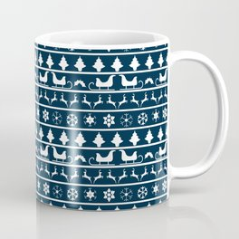 Midnight Blue & White Christmas Sweater Knit Pattern Coffee Mug