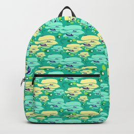 Pattern with fishermen in boats (green version) Backpack