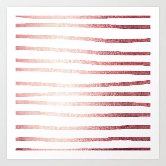 Simply Drawn Stripes Rose Gold Twilight Art Print