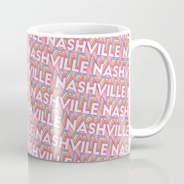 Nashville, Tennessee Trendy Rainbow Text Pattern (Pink) Coffee Mug
