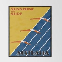 Vintage Australia Travel - Swimmers Throw Blanket