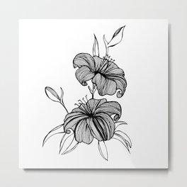 lilies Black & white Metal Print