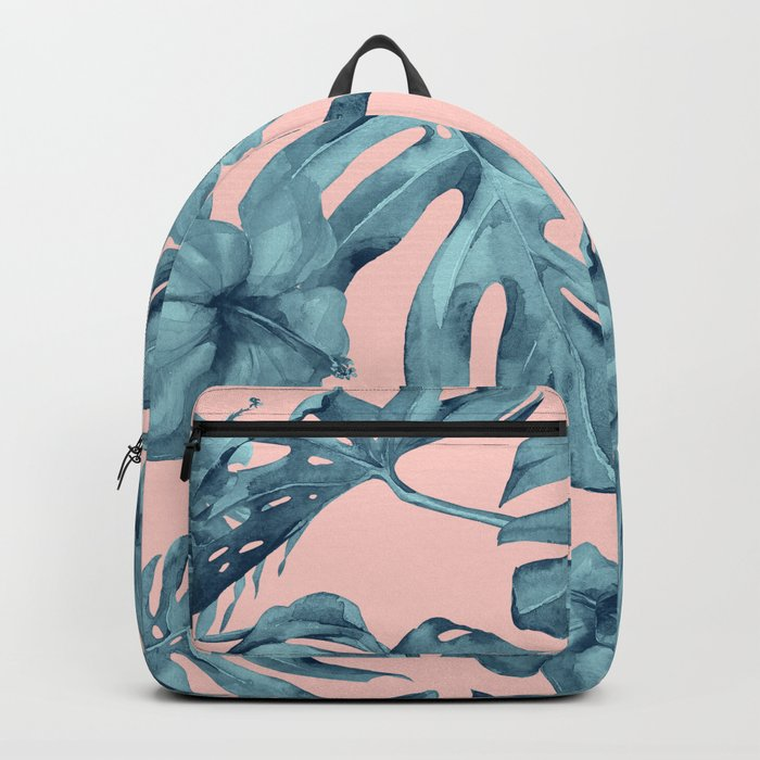 Island Life Teal on Light Pink Backpack