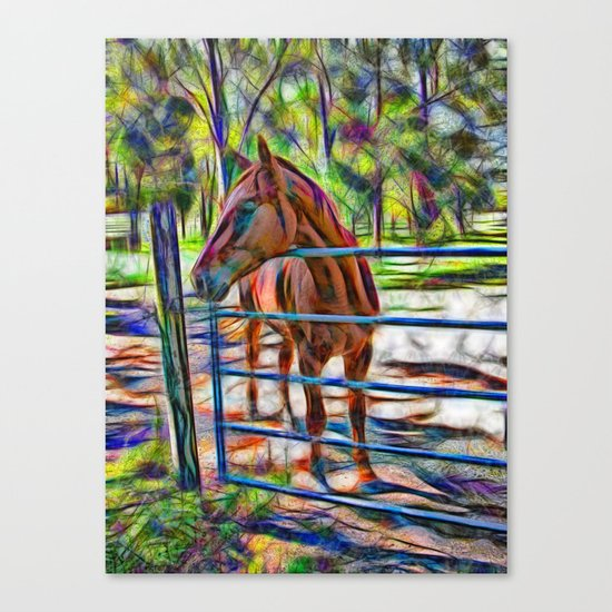 Abstract horse standing at gate Canvas Print