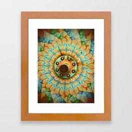 Rainbow Painted Cart Wheel Mandala Framed Art Print