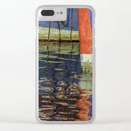 Colorful abstract boat reflection on water Clear iPhone Case