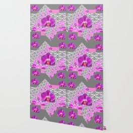GREY & CERISE PINK ORCHID FLOWERS  WHITE PATTERN Wallpaper