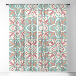 Peranakan Art Nouveau Tiles (Floral Star in Candied Colours) Sheer Curtain
