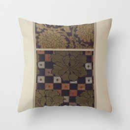 Verneuil - Japanese paper and fabric designs (1913) - 68: Stylised flowers Throw Pillow