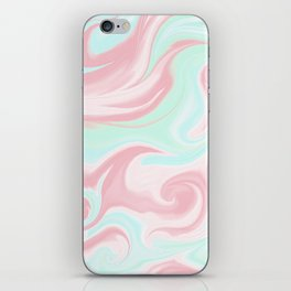 Abstract pink coral teal turquoise watercolor pattern iPhone Skin