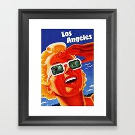 Retro Los Angeles California Travel Poster Framed Art Print