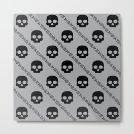 Skulls & Flowers - Silver V2 Metal Print
