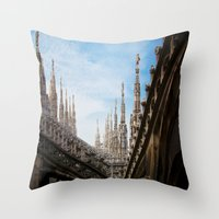spires Throw Pillows featuring Duomo di Milano spires by Marc Daly