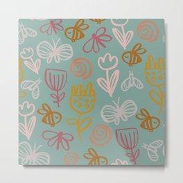 Bee with Flowers Metal Print