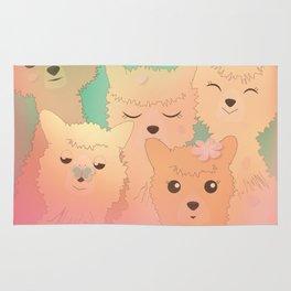 Alpaca Family II - Mint Green Spring Cherry Blossom Background Rug